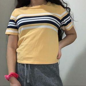 Yellow, white, blue crop top from PacSun; size xs
